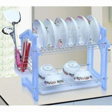 Dish Rack, Made of Iron/201 Steel/304 Steel + PP for Different Kinds of Bows and Dishes
