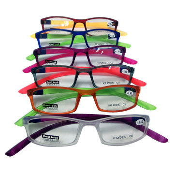 PC reading glasses with fashionable colors, temple interchangeable, +1.0 to +3.5 power available