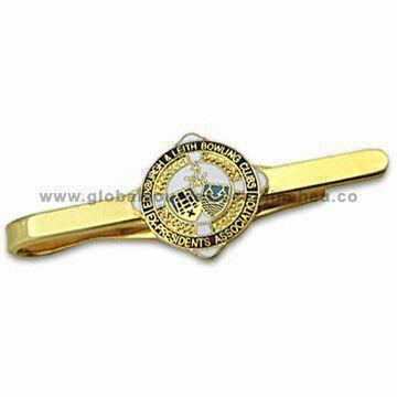 Tie Slide/Bars, Customized Logos are Welcome, Made of Stamped Brass or Photo Etching Processing