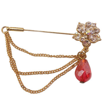 Elegant Alloy Metal Brooches with Ivory Opals and Sparkling Crystals, OEM Designs are Welcome