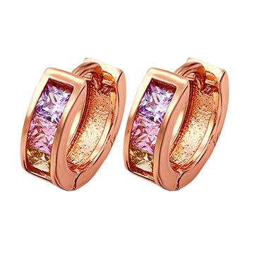 Fashion xuping jewelry rose gold-plated with square color CZ zirconia earring, latest design