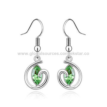 Fashionable Design Platinum Plated for Woman Austria Crystal Drop Earrings