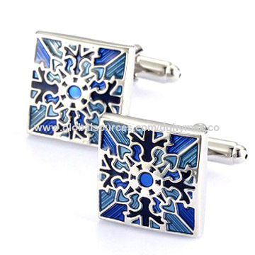 Customized high end fashion men's cufflinks in stainless steel material and soft enamel finish