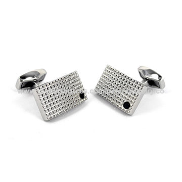 Stainless Steel Cuff Link, with Black Crystal PP, Shiny Finish