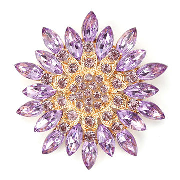 Colorful Crystal Daisy Flower Floral Pins and Brooches Fashion Costume Jewelry for Women