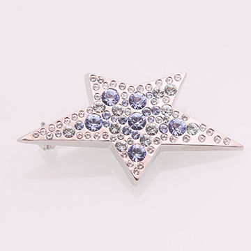 Fashion shiny star metal alloy brooch with multiple colors, glass stones