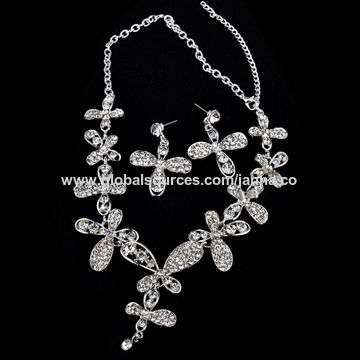 Fashion jewelry sets,made of immitation pearl and Rhodium palted alloy,for wedding dress
