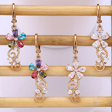 Fashion Xuping jewelry 18K gold plated hoop earring with color zircon CZ flower drop