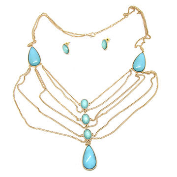 Dainty thin chain necklace earrings set with resin bead