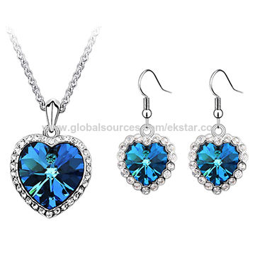 Ocean's Love Design Platinum-plated Austria Crystal Fashion Jewelry Sets for Women