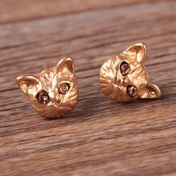 Fashionable cute animal earrings, ODM and OEM are accepted, made of zinc alloy