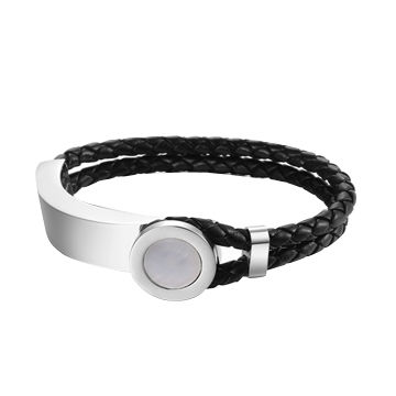 Wholesale engraved stainless steel leather bracelet from China supplier