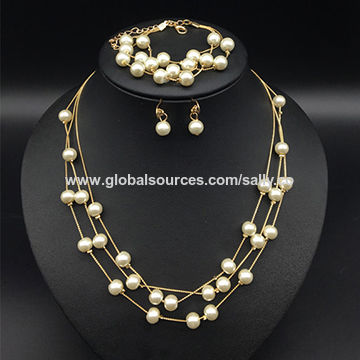 Korean fashion simple multi pearl necklace earrings set, OEM and small orders are accepted