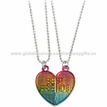 Fashion children's BFF heart charm necklace, OEM are welcome