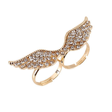 Europe and the United States fashion flash drill wings double ring, ring, made of alloy, diamond