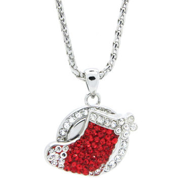 Christmas Shoe Red Crystal Silver Necklace, Ginger Snap Jewelry