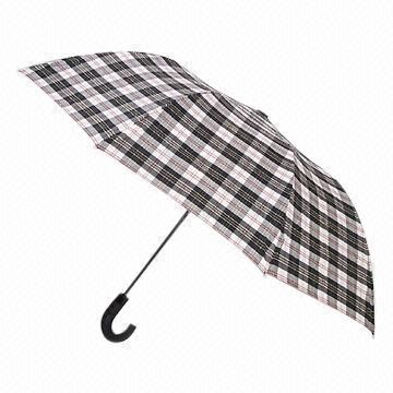 Folding Umbrella, Auto-open, White Metal Frame, 190T Polyester Chex Cloth and Plastic Handle