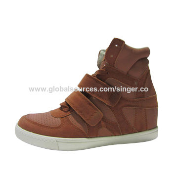 Platform sneakers shoes for women/ladies, rubber outsole, wedge insole, casual elevator shoes style