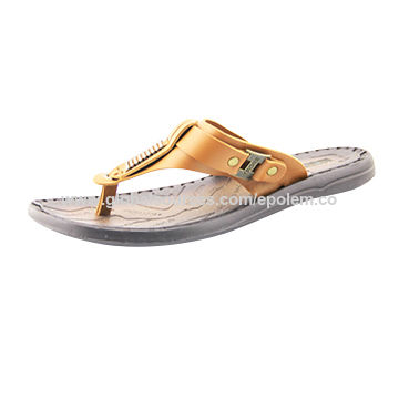 Men's flip-flops with genuine leather, rubber outsole, fashion design
