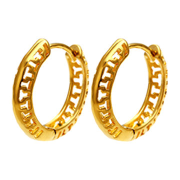 Fashion jewelry 24K gold plated color hollow earring, latest design