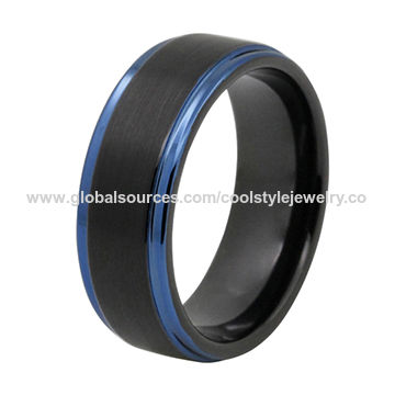 8mm Black Tungsten Carbide Wedding Band Ring with Blue Stepped Edge Matte Finished Comfort Fit