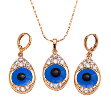 Fashion Xuping jewelry 18K gold-plated jewelry set with clear CZ and evil eyes design,newest arrival