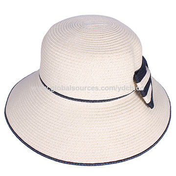Summer 2017 new design straw hats with flower ties, customized OEM welcome
