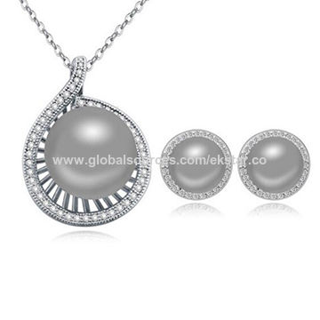 2016 new fashionable design platinum-plated gray imitation pearl jewelry sets for women
