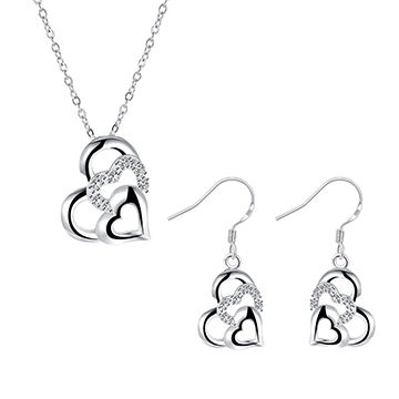 New Fashionable Love Design Silver-plated Cubic Zirconia Fashion Jewelry Sets for Women