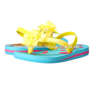 Nice little girl EVA sandal with elastic band on the back,cute printing insole