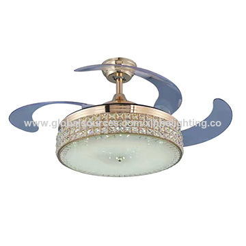 42-inch LED Color Changing Crystal PC Shade Pull Chain or Remote Control Reversed Ceiling Fan