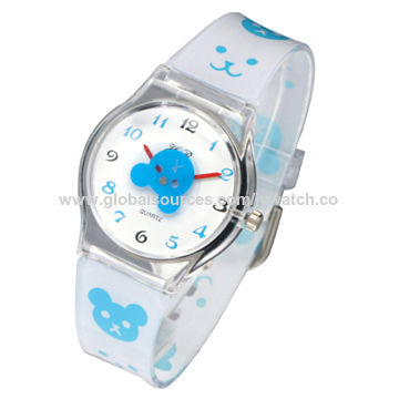 Fashion children's watch with plastic materials for promotional purposes