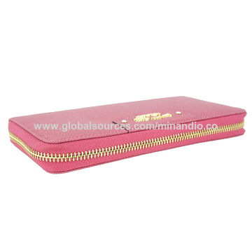 Genuine leather zipper wallet clutch bag for ladies