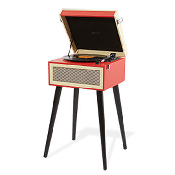 45 RPM Adapter Wooden Retro Turntable Vinyl Record Player with Legs